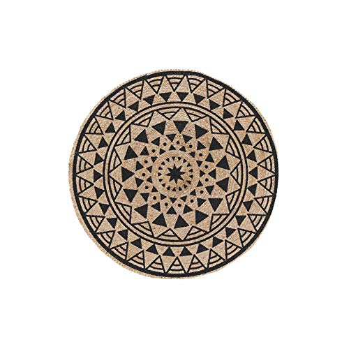 Douceur d'Intérieur tapis deco rond (0) 90 cm jute imprime silha noir
