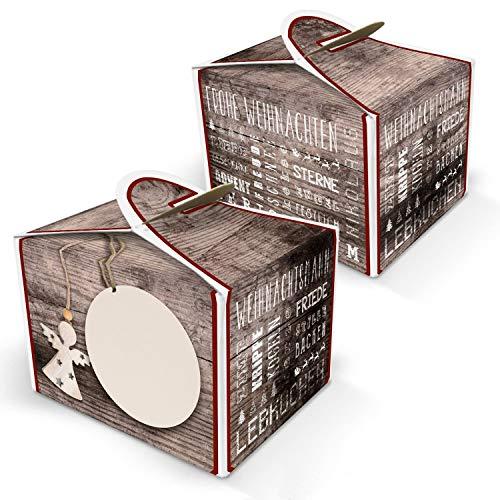 25 kleine Mini-Schachtel Geschenkschachtel Weihnachten rot natur beige 8 x 6,5 x 5,5 Geschenkkarton Verpackung Mitgebsel Werbegeschenk Tisch-Deko weihnachtlich Geschenke verpacken Adventskalender