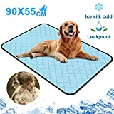 newoer Pet Dog Cooling Mat Washable Pad, Summer Cats and Dogs Bed Sleeping Waterproof Pad Ice Silk Self Cooling Blanket Non-Toxic Large Activated for Dogs Puppy Cats Home Travel & Cars, 90*55cm