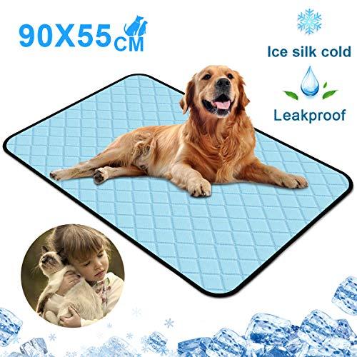 newoer Haustier-Kühlmatte, waschbar, Kühlmatte für Hunde, Haustiere, Katzen, Eis, Seide, selbstkühlend, für Zwinger, Kisten, Betten, Couch, Autositz, 90 x 55 cm