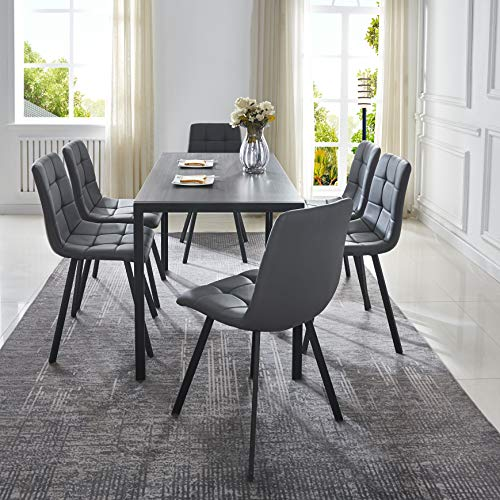 Hanway Urban Human 7 Pieces Dining Table and Chair Set, 6 Square Design Faux Leather Upholstery Chairs Seat with Modern Style Dark Brown Table, MDF Table Top with Black Coated Metal Frame.