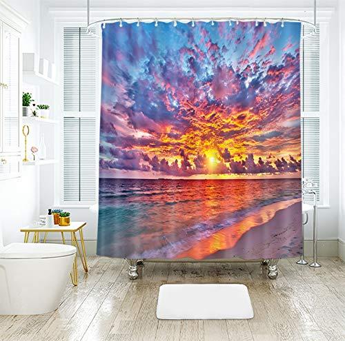 QAQ Starry Sky patroon douchegordijn raam zonsondergang gloeivenster badkamergordijn van de wolkenzee van het vuur 3D, het waterdichte sterke douchegordijn is verdikt