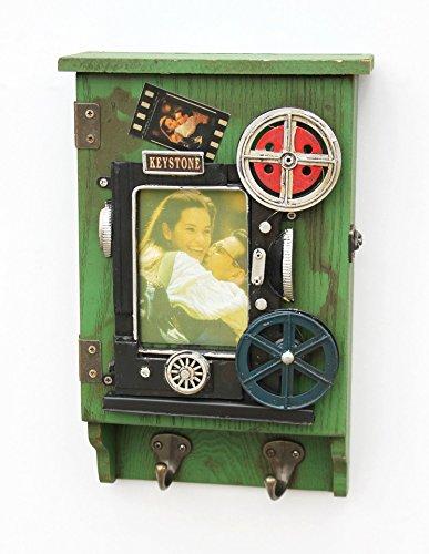 deetjen & meyer Schlüsselkasten mit Bilderrahmen 23630 Schlüsselkästchen Vintage Grün 31 cm Foto Videostudio Videokamera