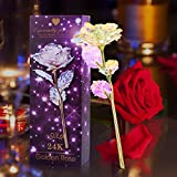 Galaxy Rose Flower with 24K Golden Foil, Colorful Artificial LED Light...
