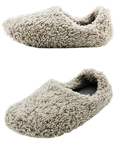 Finoceans Men Fuzzy Slippers Bedroom Winter Soft Cozy Footwear Grey