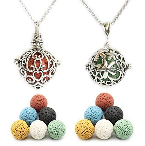 HEDQFM 2PCS Aromatherapy Essential Oil Diffuser Necklace Love Heart and Hollow Ball Locket Pendant Necklace with Lava Bead Stone for Women