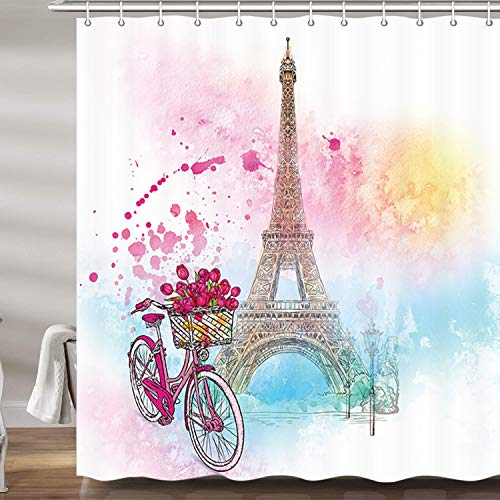 Watercolor Paris Girls Decor Shower Curtain, Eiffel Tower Valentine's Day Bicycle Flowers Upgrade Polyester Fabric Bath Curtains Bathroom Accessories, with 12PCS Hooks (69' W X 72' H)