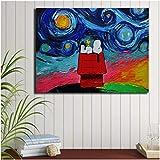 Perro Snoopy abstracto pintura carteles modernos e impresiones lienzo pintura cuadros decoración de pared decoración para sala de estar Art-60x80cm sin marco