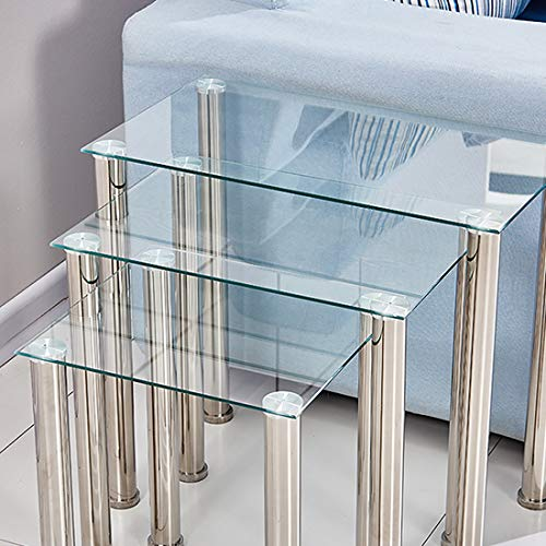 Ansley&HosHo Nesting Small Coffee Tables Glossy Transparent Nest of 3 Tables for Sofa Side Glass End Table Side Table Stackable Space-Saving Nested Tables with Chrome Legs