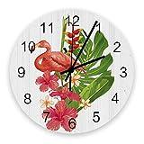 Home Reloj de pared redondo de madera vintage silencioso de 10 pulgadas, flamenco con plantas en madera, fácil de leer y que funciona con pilas, reloj que no hace tictac para oficina / cocina / dormit