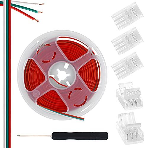 Aroidful Kit de connecteurs de bande LED à 3 broches, 5 connecteurs de bande 10mm à fil et câble d'extension 5M, pour bande LED Dream Color