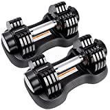 LEADNOVO Adjustable Dumbbells Set, Pair 5-25Lbs Quick Adjust Weight Dumbbells for Home Gym Strength Training Fitness