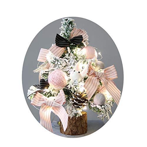 Natale Piccolo Desktop Ornamenti per Alberi di Natale, Aghi di Pino Finestra in Legno Mini Decorazioni Albero di Natale,Rosa,A