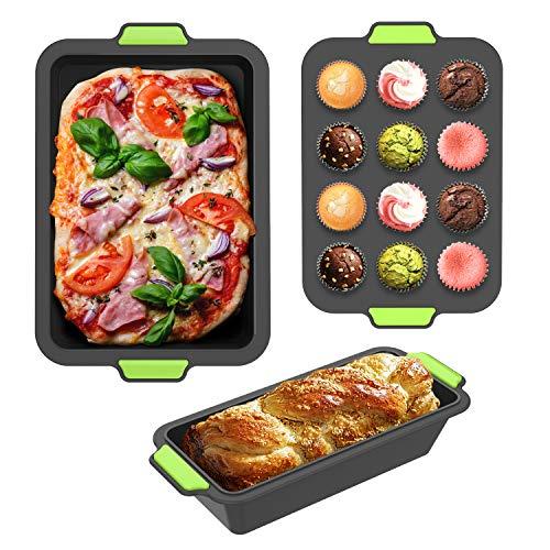 GLCS GLAUCUS 3PCS Stampi da Muffin Toast Silicone Riutilizzabile Pane Cupcake Stampo Teglie per Cucina Forno e Microonde Lavastoviglie