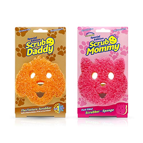 Scrub Daddy Sponge Set - Special Edition Pets - Scrub Daddy Dog and Scrub Mommy Dual-Sided Sponge and Scrubber Cat, Scratch Free, Odor Resistant, 2 Count