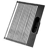 Koroda Estante multiusos enrollable para secar platos con soporte para utensilios (negro, extragrande, 50,8 x 38,4 cm)