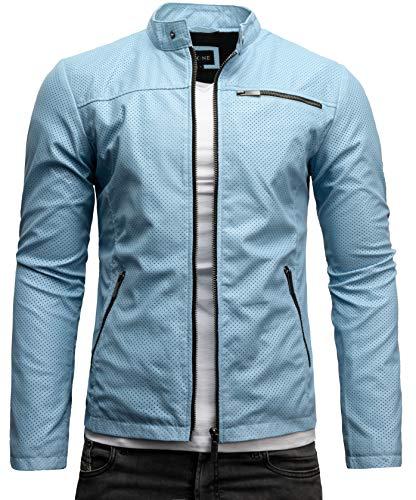 Crone Vego Herren Eco-Lederjacke Cleane Leichte Basic Jacke Vegan (S, Hellblau Perforiert (Ecoleder))