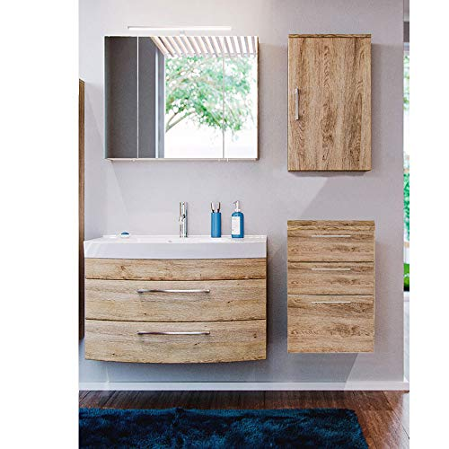 Lomadox Badmöbel Set, Eiche hell, 100cm Waschtisch mit Waschbecken, LED-Spiegelschrank, Hängeschrank und Unterschrank, B/H/T 155/200/50 cm