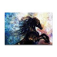 キャンバス塗装 壁の芸術の家の装飾のリビングルームのための動物の油絵フレームなしポスターとプリント黒馬 50*75cm