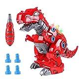 Toyssa Dinosaurio Juguete Caminador con LED Luz y Sonido Juego Construccion Puzzle T-Rex Dinosaurios Juguetes para Niños y Niñas 3+ Años (Rojo)
