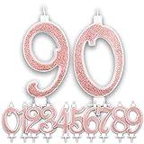 Candeline Grandi Compleanno Rosa Gold Glitter | Numeri brillanti per Torta Festa Birthday Ragazza | Decorazioni Candele Topper Auguri Anniversario Torta | Altezza 13 CM (90 Anni)