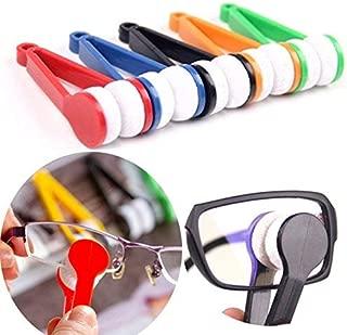 TECHVIDA 5 Pcs Mini Sun Glasses Eyeglass Microfiber Spectacles Cleaner Soft Brush Cleaning Tool Mini Microfiber Glasses Eyeglasses Cleaner Cleaning Clip (Random Color)