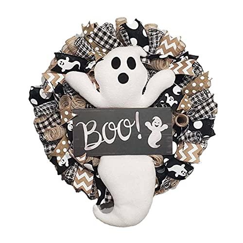 SoeHong Boo Ghost Spooky, Ghirlanda di Halloween per porta d'ingresso Boo fantasma Ghirlanda per casa casa casa Decor Indoor