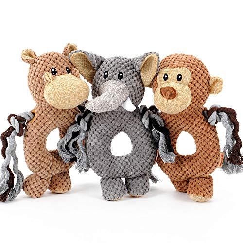 HOOPET Hundespielzeug, Plüsch, Hundepuppe,Plüschpuppe, Plüschspielzeug, Kauspielzeug, Quietschend, Robust | Kuh/Elefant/AFFE (Kuh)