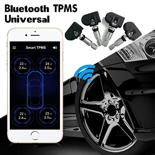 WYW Auto TPMS Bluetooth Reifendruckkontrollsystem Interne Sensoren für Android IOS,Schwarz