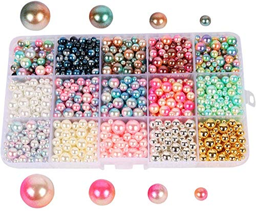 Beads 1140pcs/lot Mix Rainbow Gradient Color Round 4/6/8/10mm Imitation Pearl No Holes for DIY Handmade Jewelry Making Craft