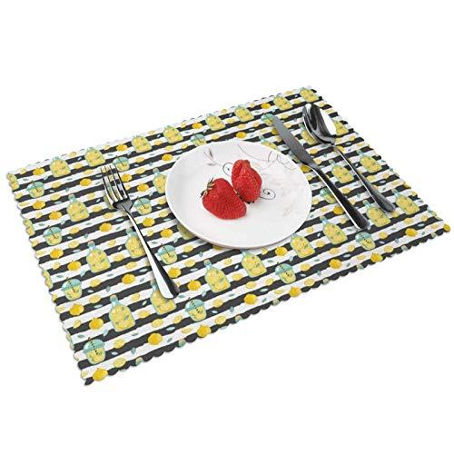 Manteles Individuales Limonada 588, Mantel Individual Antideslizante Resistente Al Calor Salvamanteles Juego De 4 para La Mesa De Comedor De Cocina, 45x30 Cm