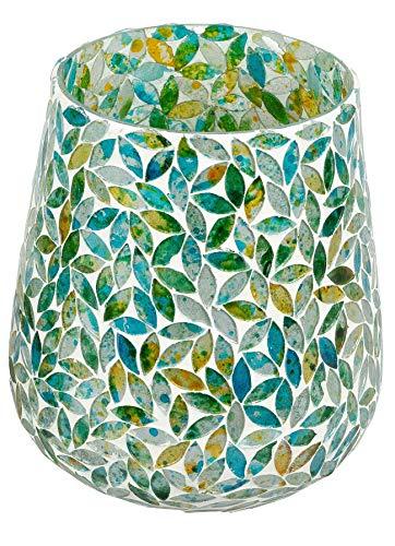 dekojohnson schönes Windlicht aus Mosaikglas Vintage dekorativer Teelichthalter Glaskugel für Tisch-Deko Deko-Glas Retro türkis grün 13x15 cm groß