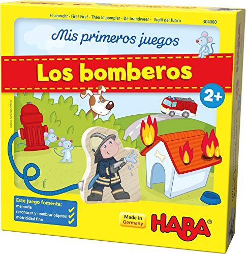 Haba 304060-Mis Primeros Emocionante Memoria para 1-4 Jugadores a Partir de 2 años   la Caja de Juegos se Convierte en una estación de Bomberos jugable, Multicolor (Habermass 304060)