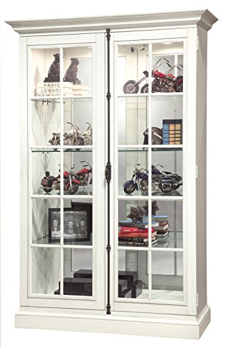 Howard Miller Bardeen Display Cabinet 543-016 - Lightly Distressed Aged Linen Glass Curio Shelf Case with No Reach Roller Light & Hinged Front Doors
