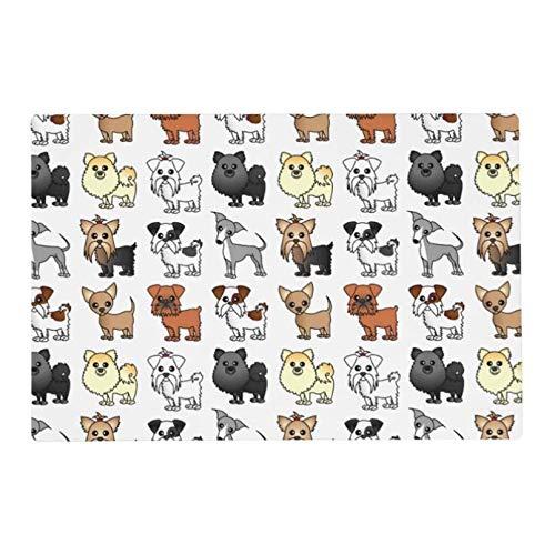 ACYKM Alfombra Puerta Impresa 3D Alfombrillas para Puerta Entrada Bonito patrón Raza Perro Juguete Mantel Individual Felpudo Divertido para Puerta Tela no Tejida Goma Antideslizante Superior