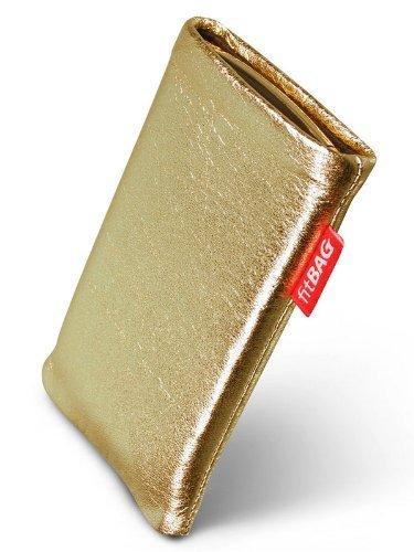 fitBAG Groove Gold Handytasche Tasche aus feinem Folienleder Echtleder mit Microfaserinnenfutter für Sony Ericsson W380 W380i
