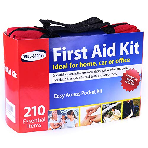 WELL-STRONG First Aid Kit 210 Piece All- Purpose with Portable & Durable Canvas Bag for Emergencies at Home, Outdoors, Car, School, Office, Travel, Survival, Adventure, Hiking and Camping