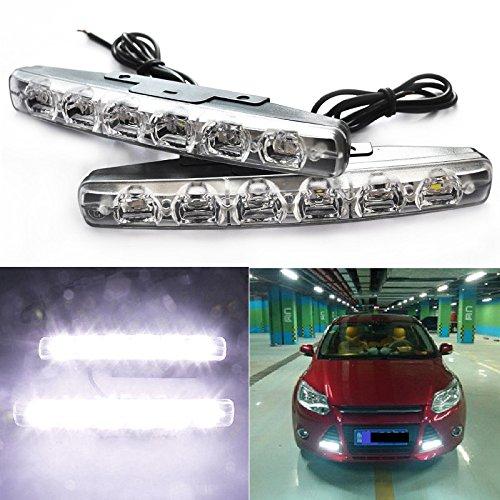 Starmood 1 Paar Wasserdichte Auto Tagfahrlicht 6LED DRL Tageslicht Weiß 12 V DC Scheinwerfer Externe Lichter