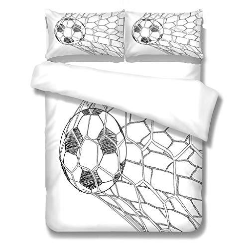 N/S Bettbezug Mikrofaser Bettwäsche (220x240) cm + Kissenbezug (48X75) cmx2 - Superweiches Bettbezug Set,mit Reißverschluss,Fußballschuss