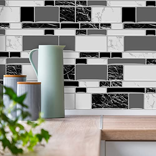 """Peel and Stick Backsplash Tiles for Kitchen Black and White Stick on Backsplash Kitchen Backsplash Contact Paper Kitchen Wallpaper Self Adhesive Removable Wallpaper for Bathroom Waterproof 15.7""""×118"""""""