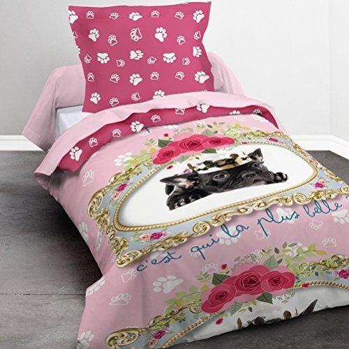 TODAY Happy Dessin Lady-Parure HC1 : Housse de Couette Chien 140x200 + 1 Taie d'Oreiller 100% Coton, (57 Fils), Rose, 140x200 cm