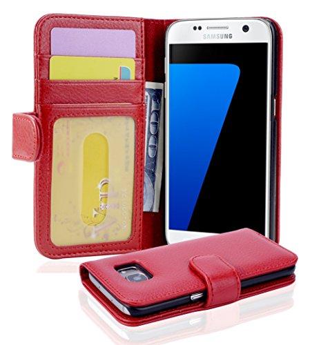 Cadorabo Hülle für Samsung Galaxy S7 in Inferno ROT – Handyhülle mit Magnetverschluss und 3 Kartenfächern – Case Cover Schutzhülle Etui Tasche Book Klapp Style