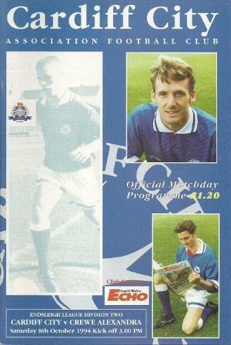 Cardiff City Crewe Alexandra (Away club) 08/10/94 Ninian Park football programme