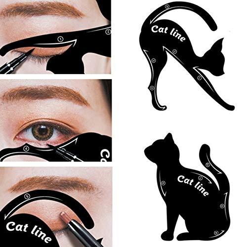 Ashley GAO 2 Stück Cat Eyeliner Schablonen, Smoky Eyeshadow Applicators Template Plate, Lidschatten Guide Template Tool