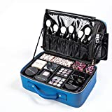 [Gifts for women] ROWNYEON PU Leather Makeup Bag Portable Makeup Artist Case Professional Makeup Train Case with Adjustable Dividers Best Gift for Girl (Blue Medium)