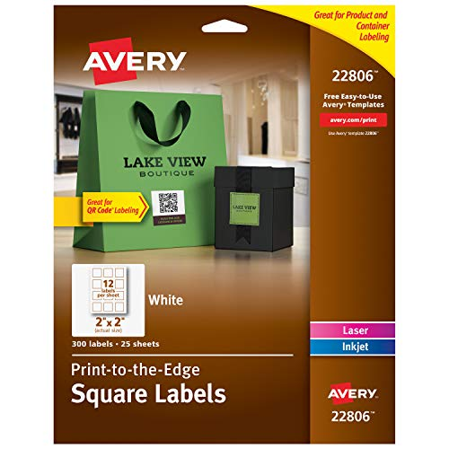 """Avery Square Labels for Laser & Inkjet Printers, Sure Feed, 2"""" x 2"""", 300 White Labels (22806)"""