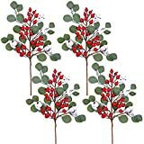 4 Pack Christmas Artificial Red Berries and Eucalyptus Leaves Spray Floral Stems with Cotton Balls 23.6' Tall for Christmas Floral Arrangement Wreath Winter Holiday Seasonal Decoration