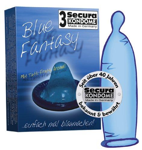 Orion 415405 Secura Blue Fantasy 3-er Set Farbe und Aroma, 3 blaue Kondome mit Tutti-Frutti-Aroma