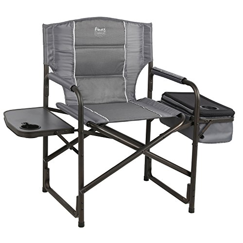 Timber Ridge Laurel Outdoor Folding Director s Chair with Cooler Bag & Side Table, Grey