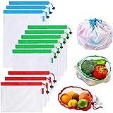 Bolsas de tela - Vagalbox, Lavables de primera calidad para las compras en el supermercado, almacenamiento de frutas y verduras, Contiene 6 bolsas medianas, 3 bolsas grandes y 3 bolsas pequeñas (12...